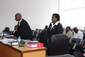 Hon. Margaret Nantongo Zziwa (R) and her Lawyer  Mr. Justin Semuyaba (L) in Court