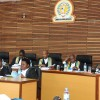 Judges of the Appellate Division during session with court clerks in front