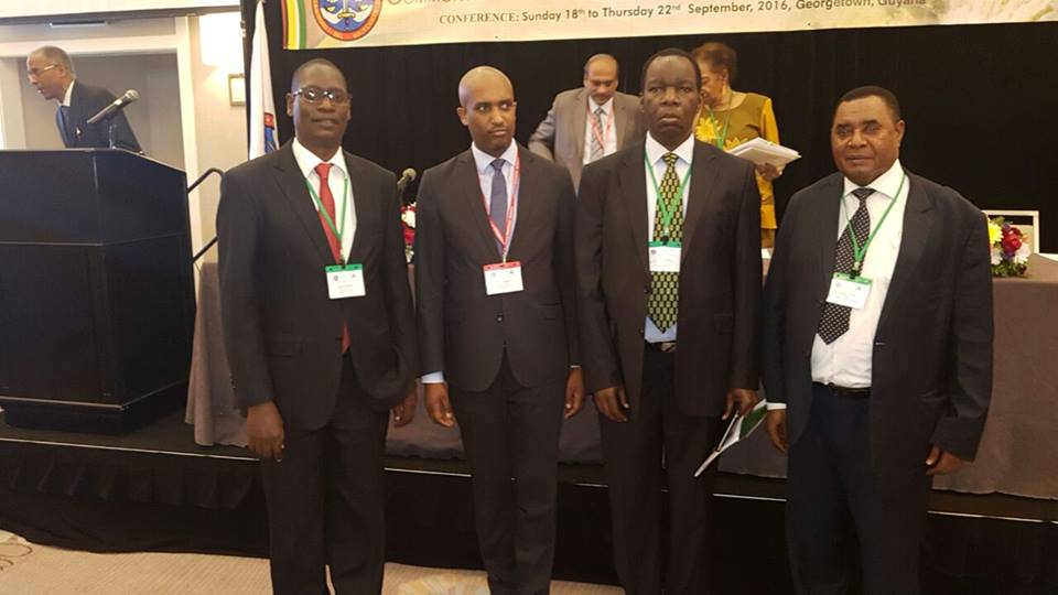 The Judge President Hon. Justice Dr. Emmanuel Ugirashebuja with the Vice President, Hon. Justice Liboire Nkurunziza, Hon. Justice Fakihi Jundu and His Worship, the Registrar Mr. Yufnalis Okubo during CMJA Conference 2016 in Guyana, South America